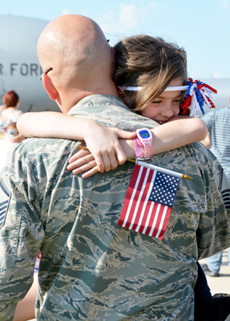 Airman with daughter