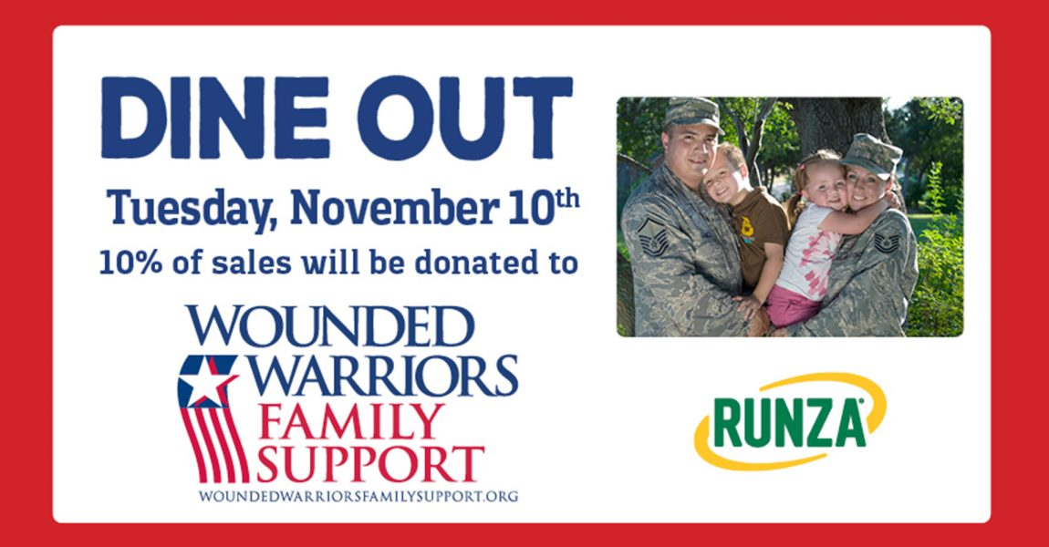 Runza Dine Out event donates 10% to Combat-Wounded Veteran Families