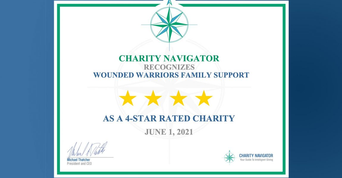 Charity Navigator Awards Wounded Warriors Family Support their top 4-Star Rating, Again!